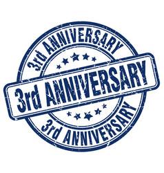 3rd anniversary blue grunge stamp vector