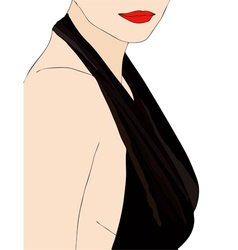 A woman in a very sensual dress vector image