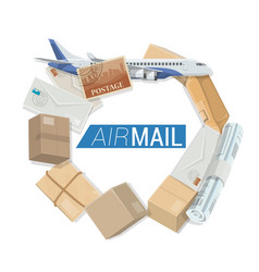 air mail delivery service shipping parcels vector image