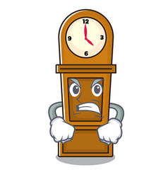 Angry grandfather clock mascot cartoon vector