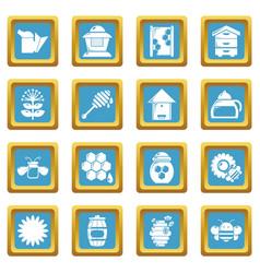 apiary honey icons set sapphirine square vector image