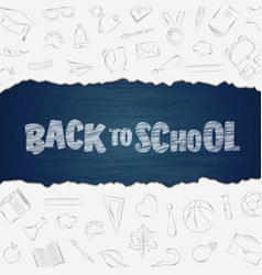 back to school supplies doodles set with lettering vector image
