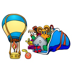 Balloon and gifts in sack vector image