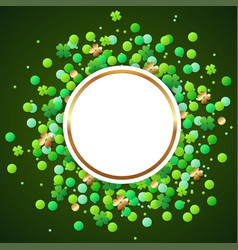 banner with green confetti and clover leaves vector image