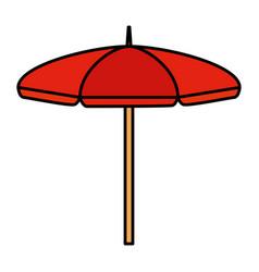 Beach umbrella open summer icon vector