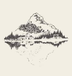 beautiful cozy house lake mountain sketch vector image