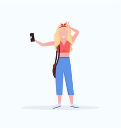 blonde woman taking selfie photo on smartphone vector image