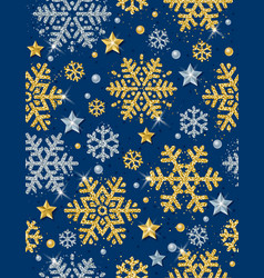 blue christmas pattern with golden snowflakes vector image