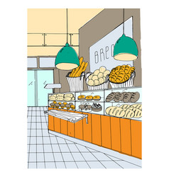 Bread department hand drawn colorful vector