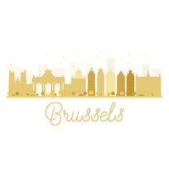 Brussels City skyline golden silhouette vector image