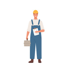 builder man or engineer standing with toolkit vector image