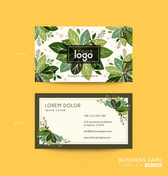 Business card name card design with green leaves vector