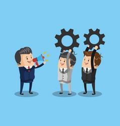 businessman leader with teamwork vector image