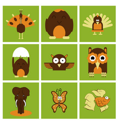 cartoon cute animals for baby card and invitation vector image