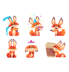 cartoon fox characters orange fluffy wild animals vector image