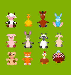 cartoon set cute farm animals vector image