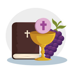 Catholic bible and chalice with holy host to event vector