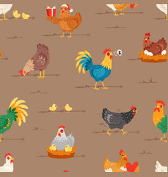 Chicken cartoon chick character hen and vector