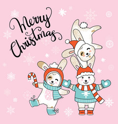 Christmas card congratulations with cute vector