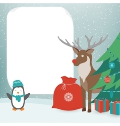 Christmas Card with Christmas Characters Template vector