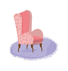Classic chair carpet comfort furniture icon vector