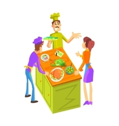 Cooking class for a couple vector