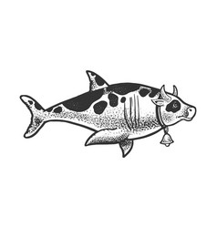 Cow shark animal sketch vector