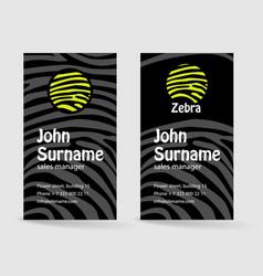 Creative business card zebra pattern texture vector
