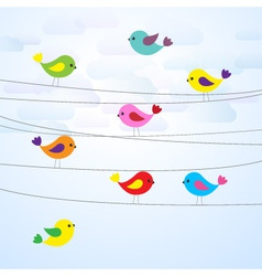 Cute colorful birds on wires vector