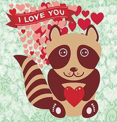 Cute raccoon with red heart Valentines day card vector image