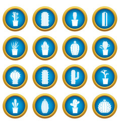 different cactuses icons blue circle set vector image