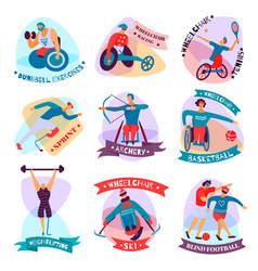 Disabled people sport flat emblem set vector
