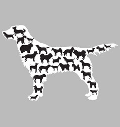 Dogs silhouettes inside one dog vector