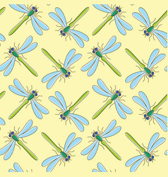 Dragonfly seamless pattern for textile design vector