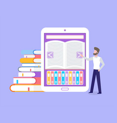 electronic book library for free students access vector image