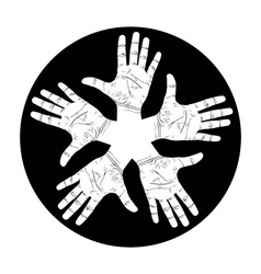Five open hands abstract symbol detailed black and vector