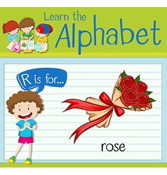 Flashcard alphabet R is for rose vector image