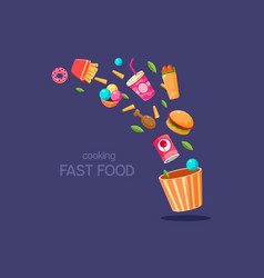 fresh food flying into a box cooking fasr food vector image