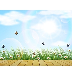 Fresh spring green grass with flower and butterfly vector image