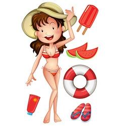 Girl in bikini with summer set vector image vector image