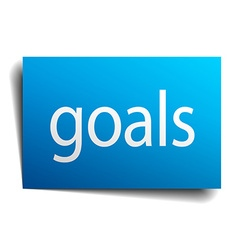 goals blue paper sign on white background vector image
