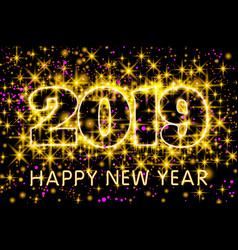 gold neon yellow typography happy new year 2019 vector image