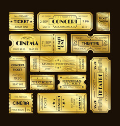 Golden tickets admit one gold movie ticket set vector