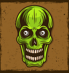 green skull zombie cartoon vector image