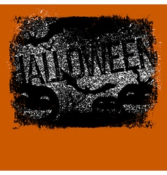 Halloween typography with pumpkins and bats vector image