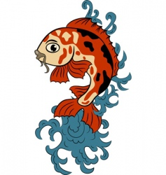 hand drawn koi carp fish vector image