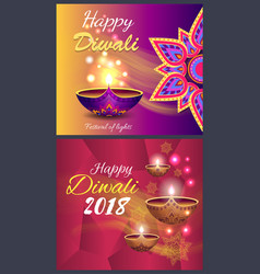 happy diwali promo poster vector image
