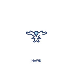 Hawk concept 2 colored icon simple line element vector