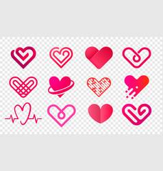 heart logo abstract creative icons set vector image