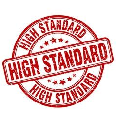 High standard red grunge round vintage rubber vector